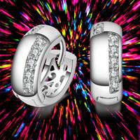 Wholesale Lever Back Ear - Women's Fashion Silver Color AAA Zircon CZ Crystal Earrings Lovely Harp Lever Back Clip Earrings Women Ear Jewelry