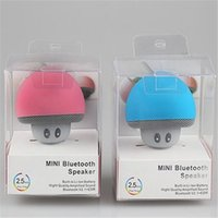 Wholesale Smallest Mini Mobile Phone - 2017 newest colourful cute Cartoon small mushroom head microphone Bluetooth speaker small suction cup mini mobile phone flat panel support