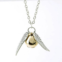 Wholesale Small Ball Necklace Chain - Harry and the Deathly Hallows Snitch Gold Wing Necklace New Design Wing Small Ball Necklace Chain Silver Pendant Jewelry Hot Sale