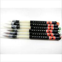 Wholesale Hair Pen Wholesale - Wholesale-6 Pcs   Set Piston Water Brush Chinese Japanese weasel hair Calligraphy Pen Free Shipping