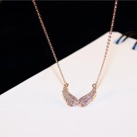 Wholesale Butterfly Wing Pendant Necklace - 2017 Fashion Angel Butterfly Wing Crystal Choker Necklace Women Biker Jewelry Antique Rhinestone Crystal Necklace   sweater chain