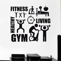 Wholesale Arts Wallpapers - Home Wall Sticker Decal Healthy Lifestyle Sport Motivation Fitness Gym Vinyl Art Furnishings Healthy Living Room Decoration JJB0056