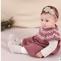 Wholesale Knit Girls Lace Cardigan - Baby girls dresses Autumn New baby sleeveless knit Cardigan dress toddler kids round collar A-line dress 2017 new Girls clothing G0491