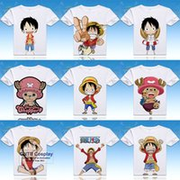 Wholesale One Piece Luffy Shirt - Anime One Piece Cosplay Printed Luffy Short Sleeve T-shirts O-neck Roronoa Zoro Tops Usopp Tees Nami Summer Tshirt