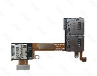 Para Sony Xperia M2 D2302 titular de la tarjeta Sim dual / simple Micro SD Memory TF socket bandeja de la ranura Flex Cable Repair Part