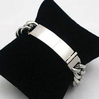 ingrosso nomi di catena di collegamento-Braccialetto di identificazione braccialetto di catena di braccialetti di tag in maglia di collegamento di 8,86 pollici in bianco Incisione laser personalizzata di fabbrica Nome Parole chiave