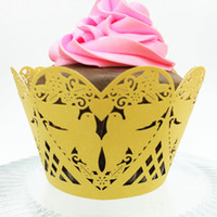 Wholesale Love Cupcake Wrappers - Love bird cupcake box laser cut cupcake wrappers hollow vintage wedding marriage cupcake boxes party favor holders multi colors