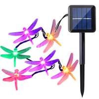 Wholesale Led Christmas Lights Dragonfly - Solar powered Christmas Dragonfly LED String Lights 16ft 20 LEDs 6 colors Waterproof Fairy Lighting for Christmas Trees Garden light