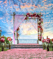Wholesale Backdrop Vinyl Pink - Beautiful Sky Clouds Outdoor Scenic Summer Beach Wedding Backdrops Vinyl Romantic Pink Petals Carpet Red Roses Photography Studio Background