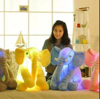 Wholesale Elephant Led - Plush Colorful Glowing Led Light Luminous Elephant Toy Stuffed Doll Pillow Sleeping Birthday Gift for Kids Baby Elephant plush toy KKA2462