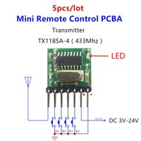Wholesale Rf Module 433 - Wholesale- 5 pieces 433 Mhz Superheterodyne RF wireless transmitter module 1527 Encoding EV1527 Code wide-voltage 3V-24V For Remote control