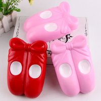 Wholesale Ballet Shoes Charms Pendants - Cute Jumbo Kawaii Squishies 15cm Ballet Shoes Soft Squishy Slow Rising Phone Strap Charms Pendant Squeeze Scented Bread Cake Kid Toy Gift