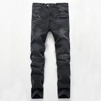 Wholesale Fashion Foot Wear - Men's Distressed Ripped Skinny Jeans make old, worn, washed Mens Denim Pants Hip Hop Street skateboard sports jeans Wrinkled feet men jeans