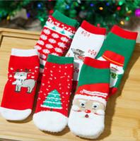 Wholesale Toddler Girl Booties - Christmas Baby Socks Girls Winter Socks Cartoon Socks Toddler Santa Claus Elk Hosiery Kids Tree Snowman Footwear Booties 600 pairs OOA2824