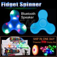 Wholesale Bluetooth Speakers For Kids - New Arrival Multifunction LED Fidget Spinner Bluetooth Speaker EDC Music Triangle Hand Spinner Fidget Toy For