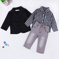 Wholesale Kids Wear Jeans - Boys handsome outfits 3pc sets black outer wear+plaids shirt+grey denim trousers Kids casual clothing jeans suits for 1-7T