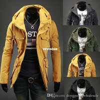 Wholesale Top Designed Hoodies Jackets - New Autumn Winter Style Slim Sexy Top Designed Mens Jacket Coat Mens Special Hoodie Jacket Coat Cotton Warm Plus Size 4 Colors