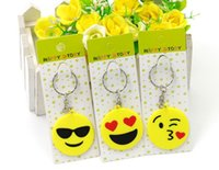 Wholesale Emoji Smiley Keychains Cute Cartoon PVC Pendant Car KeyChain New Fashion Mix Style
