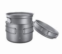 Wholesale Titanium Camping Pots Pans - Pure Titanium 3-piece Tableware Pot Pan Boiler Cooker Matte Suface 2500mll Capacity 300g Anti-corrosion Environment friendly for Outdoors