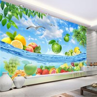Wholesale Ocean Art Prints - Custom 3D Wallpaper Tropical fruit Photo Wallpaper HD pictures Ocean Mural Home decor Large wall Art Bedroom Sofa TV background wall Fresco