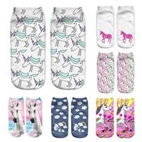 Wholesale Wholesale Cute Socks For Women - Wholesale- Unicorn Print 3D Socks Women Kawaii Ankle Licorne Chaussette Femme Calcetines Mujer Cute Art Socks For Female A0