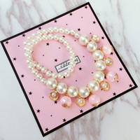Wholesale Pearl Jewelry Sets For Kids - Fashion Cute Kawaii Kids Necklace Bracelet Set For Sale Pearl Bead Necklace for Girl Kids Gift Choker Jewelry Accessory Wholesale