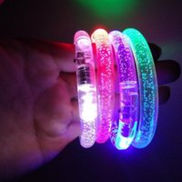 Wholesale Emergency Flashing Led Light Bar - 5pcs   lot Led Flashing Bracelet Light Up Bangle Wristband Club Party Bar Cheer Luminous Hand Ring Glow Stick Night Light