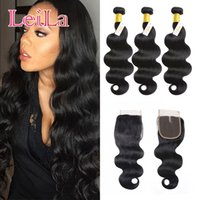 Wholesale Wholesale Hair Body Products - Peruvian Body wave Hair Products 3 Bundles with 4X4 Lace closure Unprocessed Human Hair Weave Natural color 6 inch-28inch