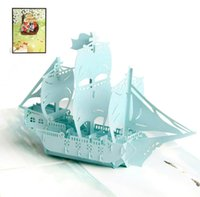 origami zum geburtstag großhandel-10 stücke Farbdruck Segeln Handgemachte Kirigami Origami 3D Pop UP Grußkarten einladungskarte Für Hochzeit Geburtstagsfeier Geschenk