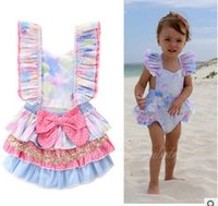 Wholesale Colorful Rompers - Toddler kids rompers baby cotton ruffle sleeve sequins falbala polka dots bows colorful jumpsuits 2017 new summer infant cute clothing C0140
