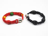 rasta armbänder großhandel-Tragbare Metallperlen Armband Pfeife Jamaika Rasta Armband Rohre 3 Farben Einzelhandel Männer / Frauen Coole Geschenke Knoten Seil Rauchen zubehör