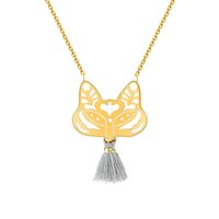 Wholesale Christmas Party Paper Plates - Wholesale 10Pcs lot 2017 Stainless Steel Jewelry Pendant Chinese Style Paper-cut Fox Face Choker Necklace Gold Chains Cute Tassels Necklaces