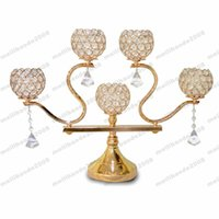 Wholesale Candelabra Style Wedding - Crystal Candelabra for Wedding Bar Party Home Decor Brand French Gold Plated European Style Crystal Bow Candle Holder free shipping MYY