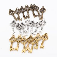 Wholesale Metal For Jewerly - Wholesale- 3 Color Small Key Pendant Charms DIY Vintage Metal Handmade Keys Pendant Charms for Jewerly Making 80pcs lot 9*26mm 6478