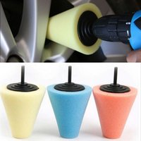 Hub de roda Polonês Polimento Shank Polimento Cone de esponja Metal Foam Pad Car 6MM 3Colors para escolher Carro Wheel Hub Care Buffing Tool