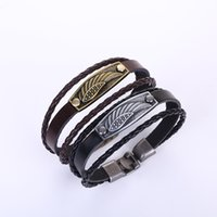 Wholesale angels wings bracelet - Hot selling leather bracelet Retro angel wings braided bracelets Couples alloy buckle leather bracelets
