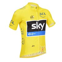 Wholesale Sky Tour France Jersey - 2017 Tour De France Team Cycling Jerseys Shirt Sky Cycling Short Sleeves Jersey Bike Tops Quick Dry Breathable High Quality Bicycle Shirt