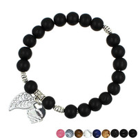 Wholesale Locking Love Bracelet Silver - High quality Lava Rock beads bracelets Ladies Tiger eye Nature stone Beads Chain Leaves LOVE Lock charm bracelet For women Fashion Jewelry