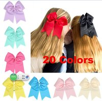 Wholesale Tie Grosgrain - Free Shipping 17.5*21.5cm Large Solid Cheerleading Hair Bows Grosgrain Ribbon Cheer Bows Tie With Elastic Band For Baby Girl