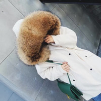Wholesale Dogs Wool - natural real raccoon fur collar with import corduroy lambswool jacket 2017 winter coat women army green white loose plus size long parka