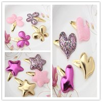 Wholesale Kid Butterfly Barrettes - Cute Children Baby Girls Kids Party BB Hair Clips Star Heart Princess Barrettes Ribbon Shiny Glitter Butterfly Hairpins Headwear
