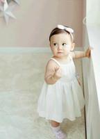 slip de algodón blanco para niñas al por mayor-2017 Summer Baby Baby Set Niñas Princesa Algodón Slip Dress + Shorts 2 unids Ropa Traje Niños Ropa Rosa Blanco