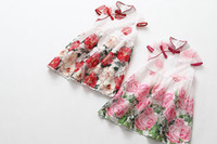 Wholesale Chinese Dance Clothes - 2017 Summer New Girl Cheongsam Chinese Style Flowers Organza Dance Dress Children Clothing 3-7Y 8191