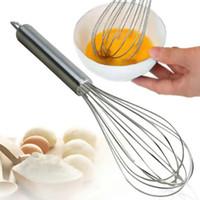 ferramentas de misturador venda por atacado-Whisk 10 polegada movimento da mão de aço inoxidável Egg Beater Eggbeater Utensílios de Cozinha Agitando Whisk Mixer Batedor Egg Ferramentas