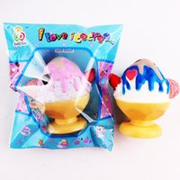 Wholesale Wholesale Ice Cream Cups - 2017 15PCS New 9cm Squishy Colorful Cup Ice cream Kawaii Phone Strap Jumbo Slow Rising Kid Toy Gift Soft Decorations Wholesales