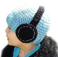 kız başlıklar fotoğrafları toptan satış-Kulaklık Tığ Örme Şapka Bebek Erkek Kız Kış Noel Kapaklar Yenidoğan Bebek Yürüyor Çocuk Çocuk Kulaklık Bere Pamuk Fotoğraf Sahne
