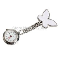 Wholesale Butterfly Clip Fob Watch - Wholesale-Butterfly Nurse Table Pocket Watch with Clip Brooch Chain Quartz White Fob Watches Montre Femme Smile