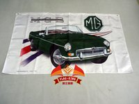 Wholesale Automobile Brands - Wholesale- MG green car brand logo flag ,free shipping,90X150CM size polyester,flag king,MorrisGarages banner,Automobile Exhibition