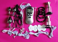 BDSM Electric Shock Therapy Kit Bondage Gear Nippel Clips Penis Anal Vaginal Plug Handschuhe Hahn Penis Sex Toys