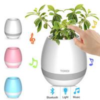 ingrosso fiori di mini piatto-2017 Nuovo arrivo K3 Mini Smart vaso di fiori Sensore Altoparlante Bluetooth Vaso di fiori di plastica Vasi di piante verdi Decorativo Macetas Pot Impermeabile